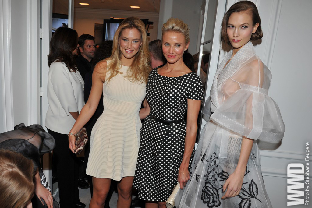 womensweardaily:  Front Row at Christian Dior Bar Refaeli, Cameron Diaz and Karlie Kloss  what an odd photo op