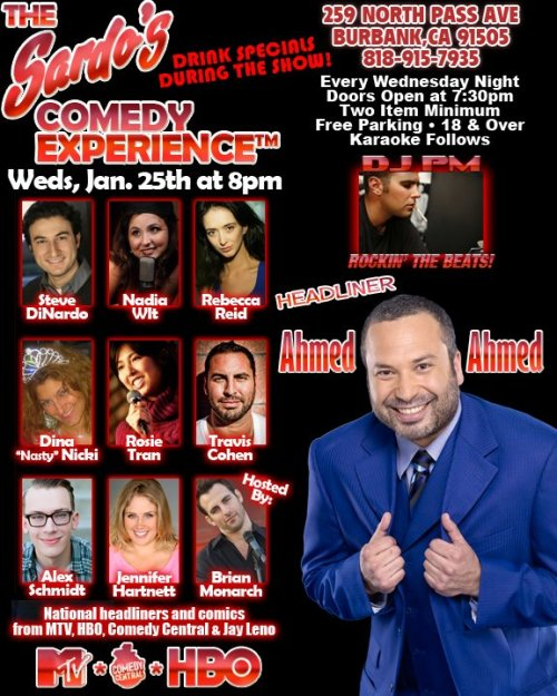 Stand-up at Sardo's on Wednesday!  There's a great free show with famous and funny headliner Ahmed Ahmed, there's karaoke after, there's this weird old guy who owns the place, and you can experience as many or as few of those things as you want to.
