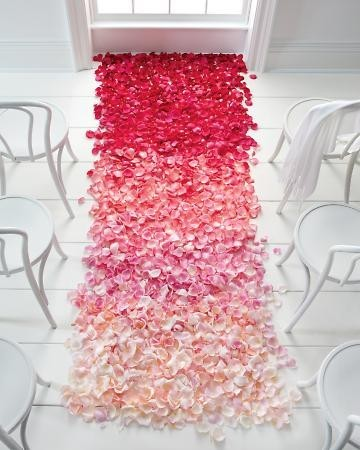 Ombre flower petals for your runner. This could work on a table as well. #PartyStyling #WeddingInspiration