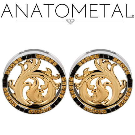 "pixiesteahouse:  pincussion:  anatometal:  1 3/4"" Nouveau Eyelets in ASTM F-138 stainless steel w/bronze Nouveau Inserts; princess-cut Amber Yellow, Brown CZ gemstones    They just feel so dang good in my ear holes!  I want them in holes, decorating my ears  I need them."