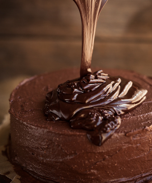 gastrogirl:  topping a chocolate frosted cake with ganache.  I recommend KAF's gluten-free chocolate cake mix…