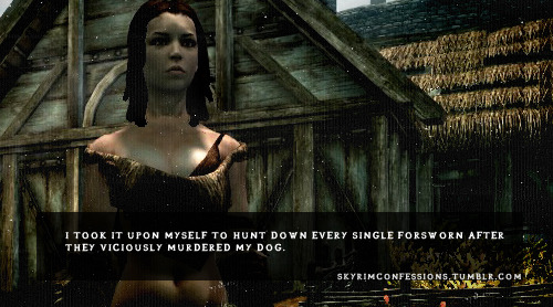"skyrimconfessions:   ""I took it upon myself to hunt down every single Forsworn after they viciously murdered my dog.""  http://skyrimconfessions.tumblr.com/"