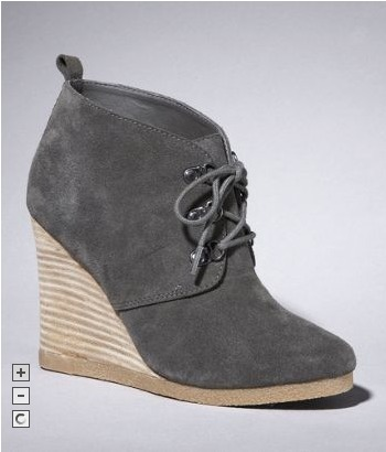 These Suede Lace-Up Wedge Booties from Express come in both gray and black and are now on sale for only $26 (down from an original price of $108). Click through to purchase.