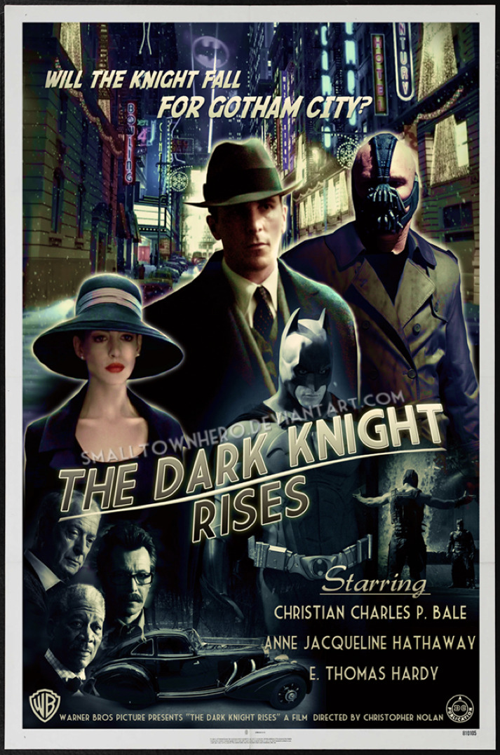 Check out this amazing looking 1930′s noir style poster for Christpher Nolan's The Dark Knight Rises, created by deviantART user smalltownhero (Shaun Watson). The poster even features a modified 1936 Mercedes-Benz 540K as the Dark Knight's vehicle of choice.
