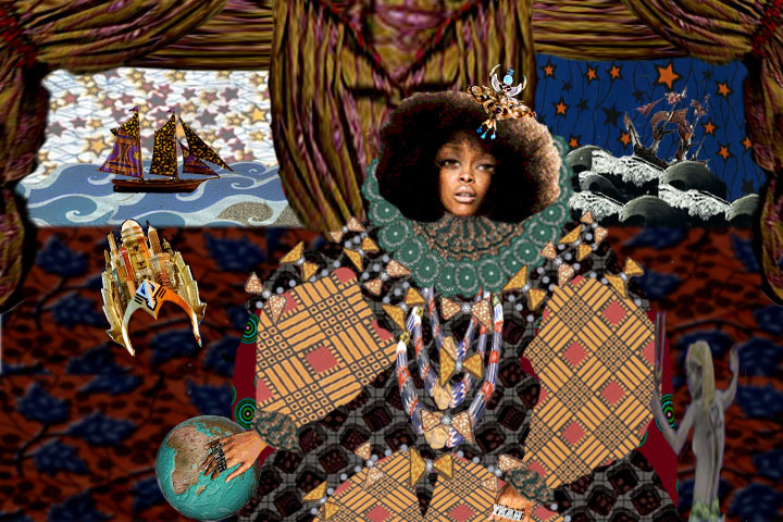 "A still from ""Funk Save The Queen"", Rusiko's video installation for Sheroes #6: Erykah Badu."