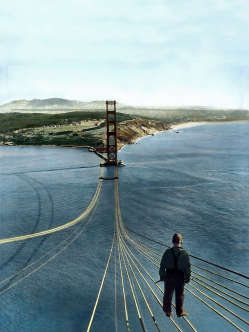 theashleyclements:  workspaces:  building the Golden Gate bridge » 1933-1937 » via rainyowl  I love this so much. Also remarkable: This view is of the San Francisco side.