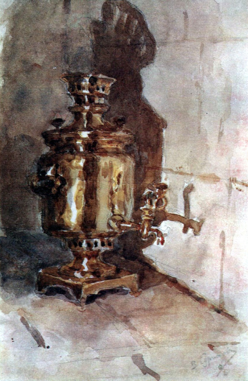 theslybrownfox:  Samovar (1876) - Vasily Surikov A samovar is a device to boil water and make very strong and black tea.
