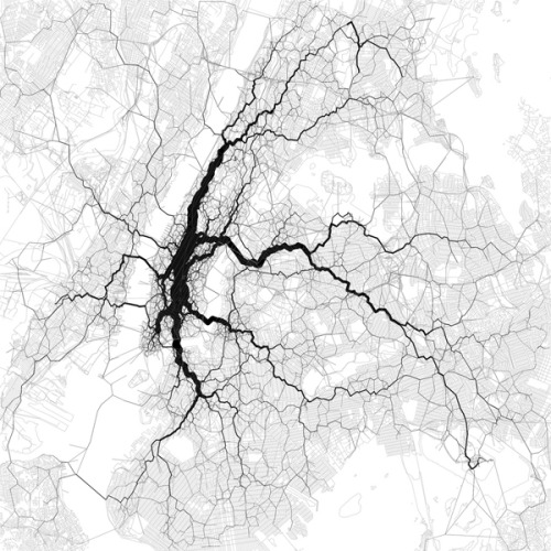 minusmanhattan:  Map of New York City generated using location data from Twitter.
