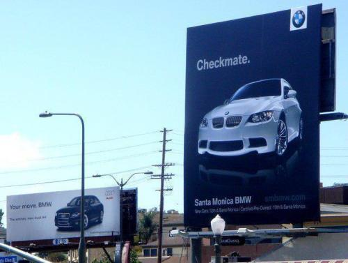 creatimes:  Audi vs. BMW billboard 'chess' game