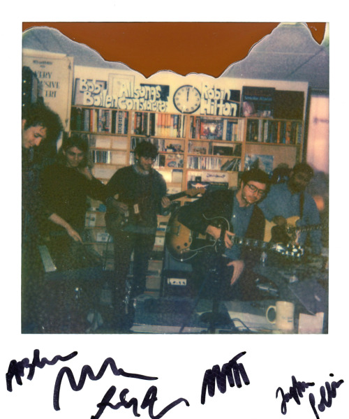 Great Tiny Desk Concert today with @realestateband. Photo shot with @ImpossibleUSA color shade first flush.  (Becky Lettenberger/NPR)