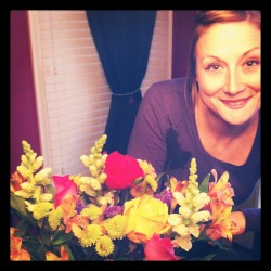 Beautiful flowers/Beautiful Woman. #celebrating #wesoldourhouse #!!! (Taken with instagram)