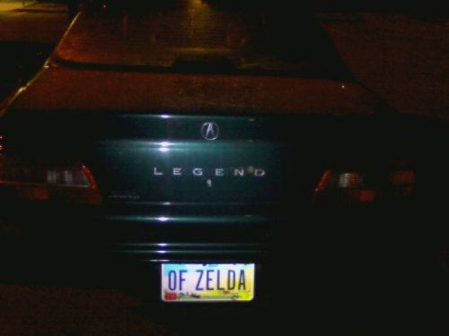 "Legend of Zelda License Plate   ""No, you idiot. Legend is the car."""
