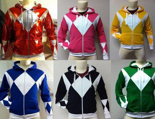 iheartchaos:  GIVE ME NOW: Custom Power Rangers hoodies Each one is hand made and costs about $110, but damn…  Find out more here, if he's still making them. At least that seems to be the best link I could find.
