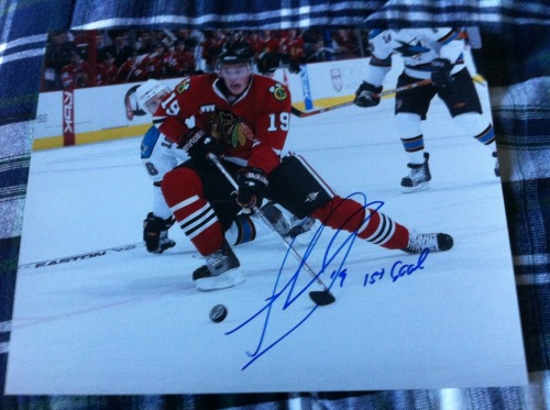 "Signed Jonathan Toews 8x10 ""1st Goal"" Inscription In Person  $65"