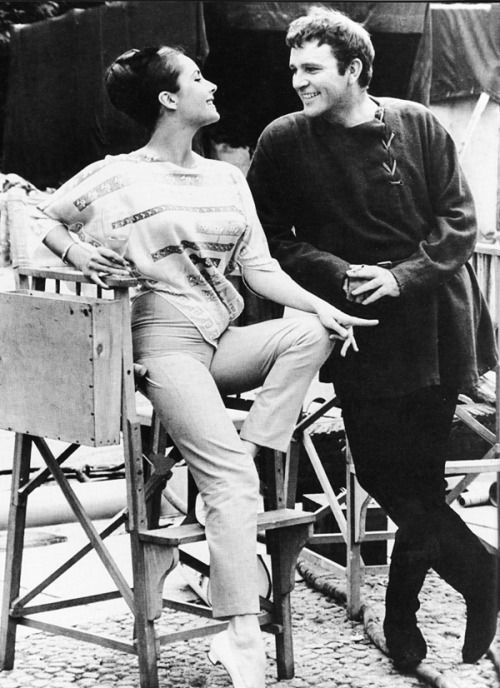 Elizabeth Taylor and Richard Burton on the set of Becket (1964)
