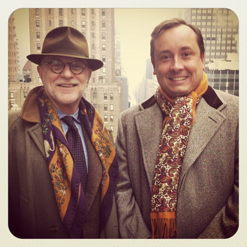 Bruce Boyer and tailor Steven Hitchcock photographed by Rose Callahan in NYC on Jan 23, 2012.