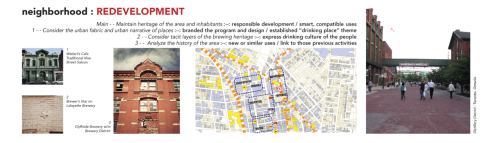 "This research discusses the redevelopment of historic urban districts, offering analysis of change at the scale of a neighborhood. Neighborhoods are flexible in terms of city scale — macro-attributes such as socio-economic and changing demographic issues, as well as micro-attributes such as interpersonal relationships and signs & symbols on buildings. Opportunities for redevelopment can touch upon many of these issues as themes, tying together the neighborhood in a way that reflects its past and creates a responsible and promising trajectory for the future.Contemporary breweries and microbreweries tend to be isolated from the built and social fabric of urban neighborhoods — either located in unadorned, industrial areas or totally unrelated to other services in the vicinity. Historically, breweries were large-scale operations, sustaining the economy of large swaths of a region and creating a need for services that extended down to the neighborhood level. Breweries were connected to local craftsmen for construction and engineering services, to local drinking places for patronage of their products, and to personal customs of the workers and their families. The overarching drinking culture contains objects for architectural commentary and metaphor, which are especially promising for success in redevelopment of historic urban districts, as shown above: historic buildings that reflect the ""urban narrative"" that future development should follow, building symbols and imagery that reflects cultural ideals, and looking to create a synergy between current professional opportunities and previous crafts & occupations that used to sustain the neighborhood. A successful example of an urban redevelopment that brought all these attributes together is the Distillery District in Toronto, which successfully maintained the heritage of the area and its inhabitants, creating responsible development with smart and compatible uses. [Research by ME]"