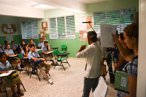 """Sixteen Peace Corps Volunteers in the Dominican Republic are producing and filming a telenovela (soap opera) entitled, """"Me Toca a Mi"""" (It's my turn) with more than 25 local youth that will be used in classrooms, educational centers, and youth clubs throughout the country. The telenovela is designed to teach life skills and HIV/AIDS prevention and awareness."""