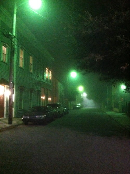 it is eerily foggy in charleston tonight