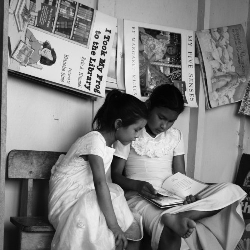 Two young girls reading in the Kato resource center library - Guyana, 2010