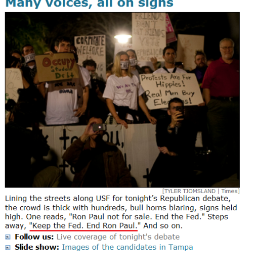 "untitled32219:  RON PAUL CULTISTS AT THE DEBATES VS. THE OCCUPY MOVEMENT. ""KEEP THE FED! END RON PAUL!"" WE DO NOT SUPPORT RON PAUL. WE ARE THE 99%. WE ARE ANONYMOUS. WE ARE LEGION. WE DO NOT FORGIVE. WE DO NOT FORGET. RON PAUL IS THE 1%. RON PAUL IS A BIGOT. RON PAUL IS A FRAUD. EXPECT US."