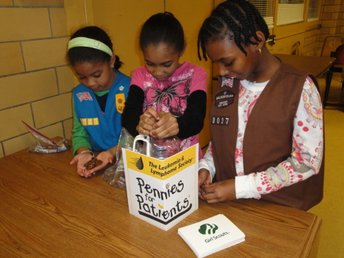 Harlem Girl Scouts Troop #3027 has decided to collect Pennies for Patients to support those effected by blood cancers.  For the next two months, troop members will be collecting donations.  Last week was the first collection and we already have nearly $60.