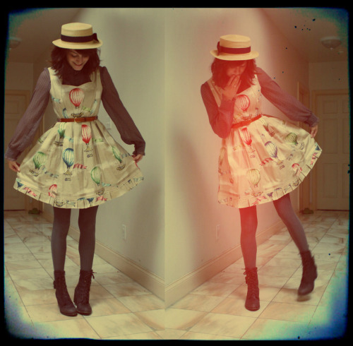 butterscotchbullets:  Shamelessly using hipster filters on all outfit photos now. It makes my bad lighting, kitchen pictures so much better!  This Maroon Sparrow Designs dress is not for sale but is designed and sewn by Sophia Alexandra using vintage fabric.