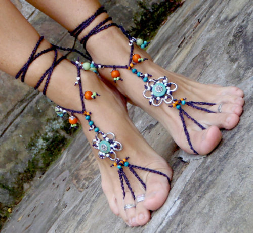My Bohemian Style barefoot sandals from GPyoga on etsy
