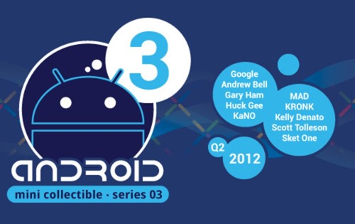 albotas:  A Little Bit on the Android Series 03 Side: According to Vinyl Pulse, the third series of Android Mini Collectibles will be released sometime in Q2 2012. The set will feature the artists listed in the above graphic and will be a one-production-run series. That means buy 'em fast.