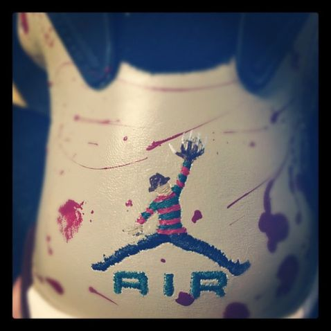 "sneakerinsomnia:  Custom Kicks: Air Jordan 6 ""Freddy Krueger"" Teaser - This is going to be really dope!!"