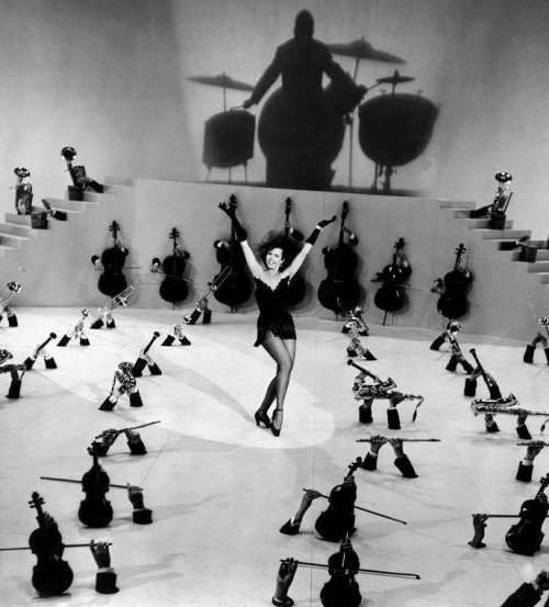 Ann Miller in a Busby Berkeley-choreographed dance sequence from Small Town Girl (1953, dir. László Kardos) (via)