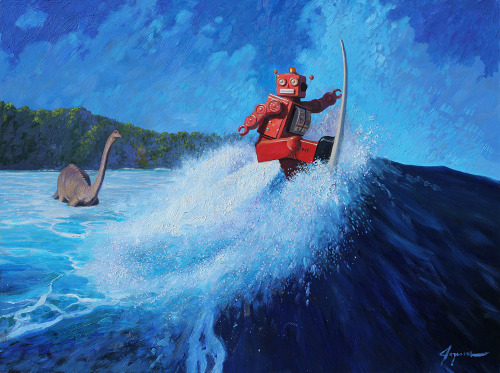 archiemcphee:  Surf's Up by Eric Joyner This awesome painting is part of Eric's solo exhibit, entitled It's a Jungle Out There, currently showing at the Corey Helford Gallery in Culver City, CA. [via Hi-Fructose]