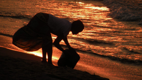 A women collecting water from Lake Malawi in the early hours of sun rise - Tanzania, 2011