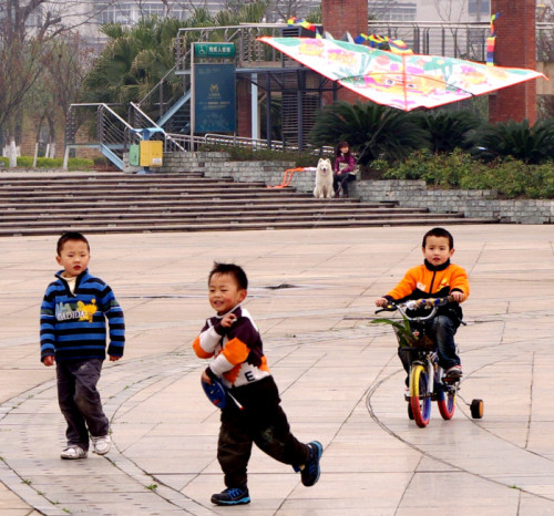 Flying a Kite - China, 2011