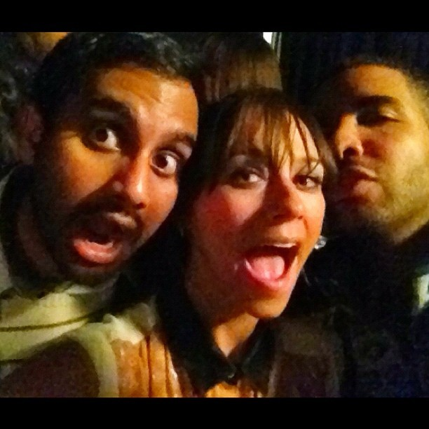 """ishootemdown:  Aziz Ansari, Rashida Jones & Drake @ Sundance {Crew Love}  """"Aziz posing with the co-presidents (only two members) of the Black and Jewish Entertainers at 2012 Sundance (me and Drizzy). It's a small club, but we have a lot of political influence."""" — Rashida"""