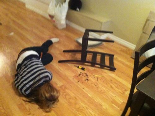 My cousin, ashamed after building a chair from IKEA.