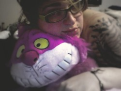Can't fall asleep without Cheshire <3 Me without makeup and Ready for bed :}