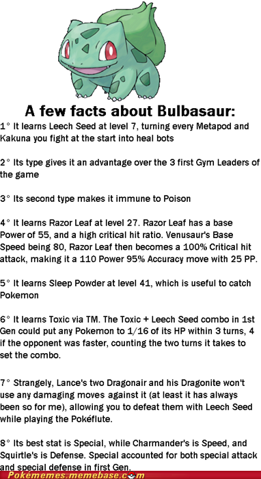 thenintendard:  Bulbasaur facts.