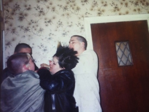 Fight!!! Skin girl and punk girl scrapping circa 1987, Kent Hotel, Margate.