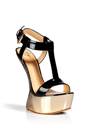 Ladies ~ GIUSEPPE ZANOTTIBlack and gold platform sandals