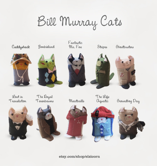 Bill Murray Cats! As soon as I package them nicely they will be appearing on my etsy store! http://www.etsy.com/shop/ellaclawley