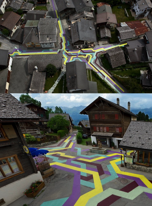 Street Painting by Sabina Lang & Daniel Baumannin in Vercorin, Switzerland