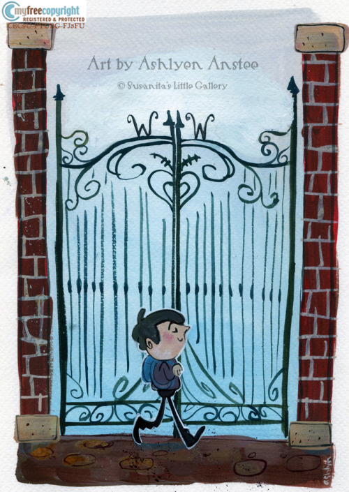 """Charlie and the Gate"" by Ashlyn Anstee Very soon available on sale in the upcoming opening exhibition ""Charlie and the Chocolate Facory"" at Susanita's Little Gallery. 20% of the sales from this exibition will go to the Roald Dahl's Marvellous Children's Charity."