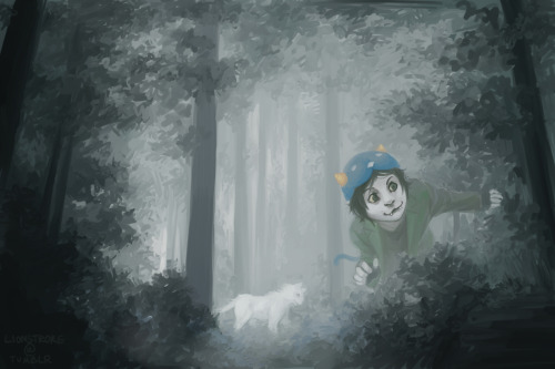 A quick sketchy paint of my patron troll hunting with her lusus. :33