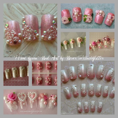 """Hime gyaru"" nails…translates loosely into ""princess."" Lots of hearts, bows, lace, pearls and rhinestones- the more, the better!"