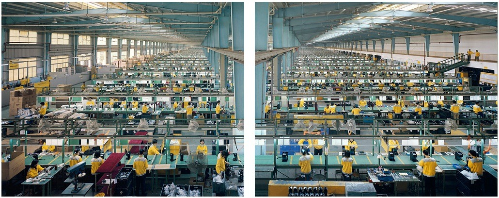 "The art: Edward Burtynsky, Manufacturing #10A and 10B, Cankun Factory, Xiamen City, 2005. The news: ""Why the United States Will Never, Ever Build the iPhone,"" by Jordan Weissmann for TheAtlantic.com and ""How the U.S. Lost Out on iPhone Work,"" by Charles Duhigg and Keith Bradsher for The New York Times. The source: EdwardBurtynsky.com"