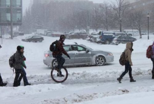 Unicyclist Rides Through Snow   It only takes him 5 minutes to get to work, but everyone in town agrees he has the most annoying commute.