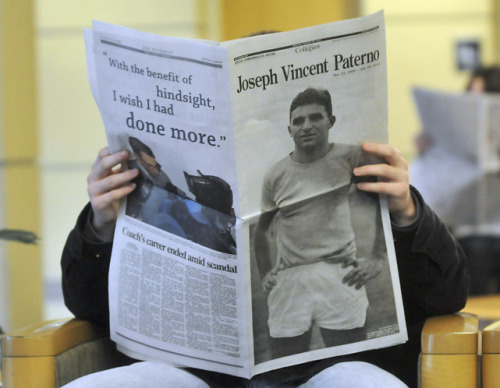 siphotos:  Penn State students read newspapers about the death of former football coach Joe Paterno on Monday. Mourners adjusted to life without the man who was the face of the university for half a century on Monday while coming to terms with a legacy tainted by his inactive role in a child sexual abuse scandal. (REUTERS/Pat Little)  MCCALLUM: Paterno's scandal goes way beyond the final chapterMANDEL: Sad, complicated ending for Penn State's iconic coachSI VAULT: Paterno wins SI Sportsman of the Year (12.22.86)GALLERY: Rare Joe Paterno Photos | PSU Reacts to JoePa's Death
