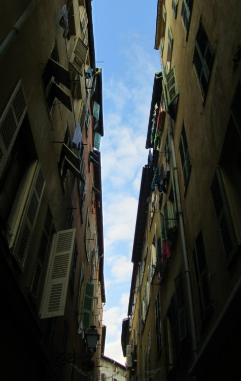 the narrow streets of Nice, France