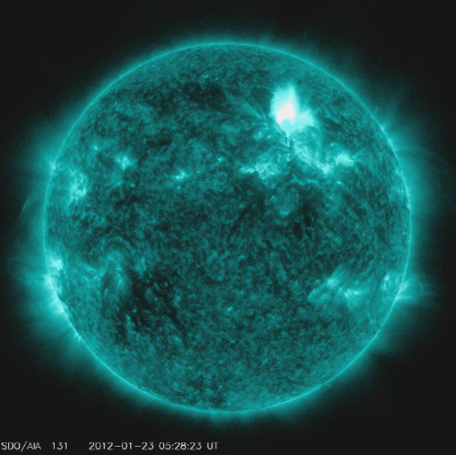 "fabelincoln:  The sun erupted late on January 22, 2012 with an M8.7 class flare, an earth-directed coronal mass ejection (CME), and a burst of fast moving, highly energetic protons known as a ""solar energetic particle"" event. The latter has caused the strongest solar radiation storm since September 2005 according to NOAA's Space Weather Prediction Center.NASA's Goddard Space Weather Center's models predict that the CME is moving at almost 1,400 miles per second, and could reach Earth's magnetosphere – the magnetic envelope that surrounds Earth — as early as tomorrow, Jan 24 at 9 AM ET (plus or minus 7 hours). This has the potential to provide good auroral displays, possibly at lower latitudes than normal."